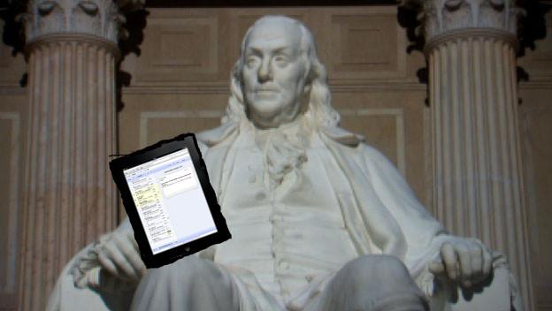 Ben reading his Gmail.